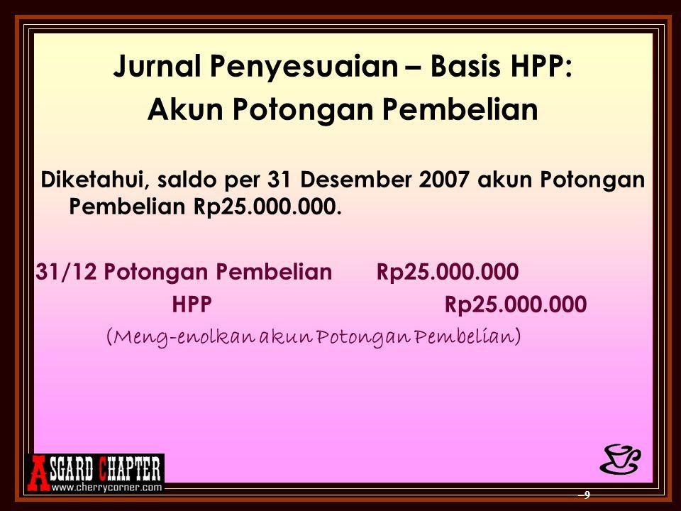 Jurnal Penyesuaian – Basis HPP: Akun Potongan Pembelian Diketahui, saldo per 31 Desember 2007 akun Potongan Pembelian Rp25.000.000. 31/12 Potongan Pem