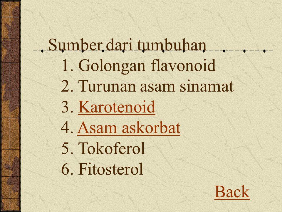 Back Sumber dari tumbuhan 1. Golongan flavonoid 2. Turunan asam sinamat 3. Karotenoid 4. Asam askorbat 5. Tokoferol 6. FitosterolKarotenoidAsam askorb