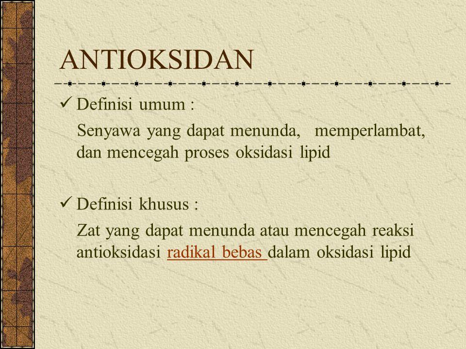 Klasifikasi Antioksidan Berdasarkan kerjanya: 1.Antioksidan primer 2.