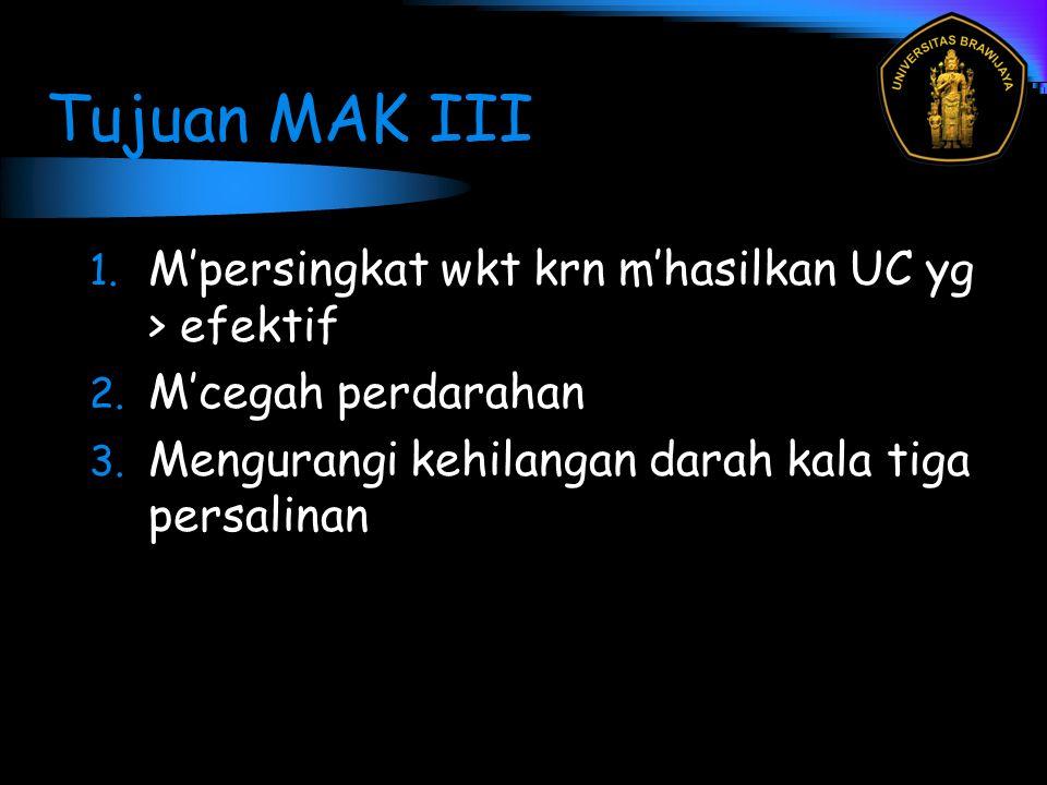 Tujuan MAK III 1. M'persingkat wkt krn m'hasilkan UC yg > efektif 2. M'cegah perdarahan 3. Mengurangi kehilangan darah kala tiga persalinan