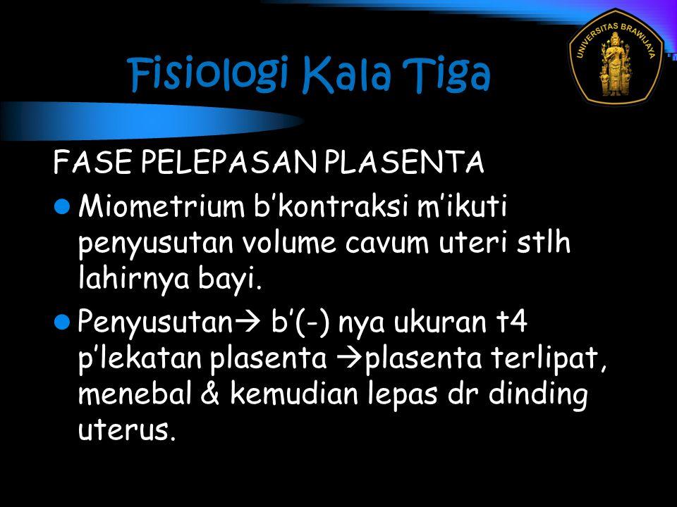 Fisiologi Kala Tiga FASE PELEPASAN PLASENTA Miometrium b'kontraksi m'ikuti penyusutan volume cavum uteri stlh lahirnya bayi. Penyusutan  b'(-) nya uk