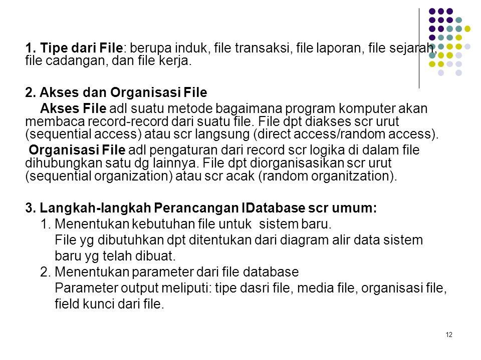 12 1. Tipe dari File: berupa induk, file transaksi, file laporan, file sejarah, file cadangan, dan file kerja. 2. Akses dan Organisasi File Akses File