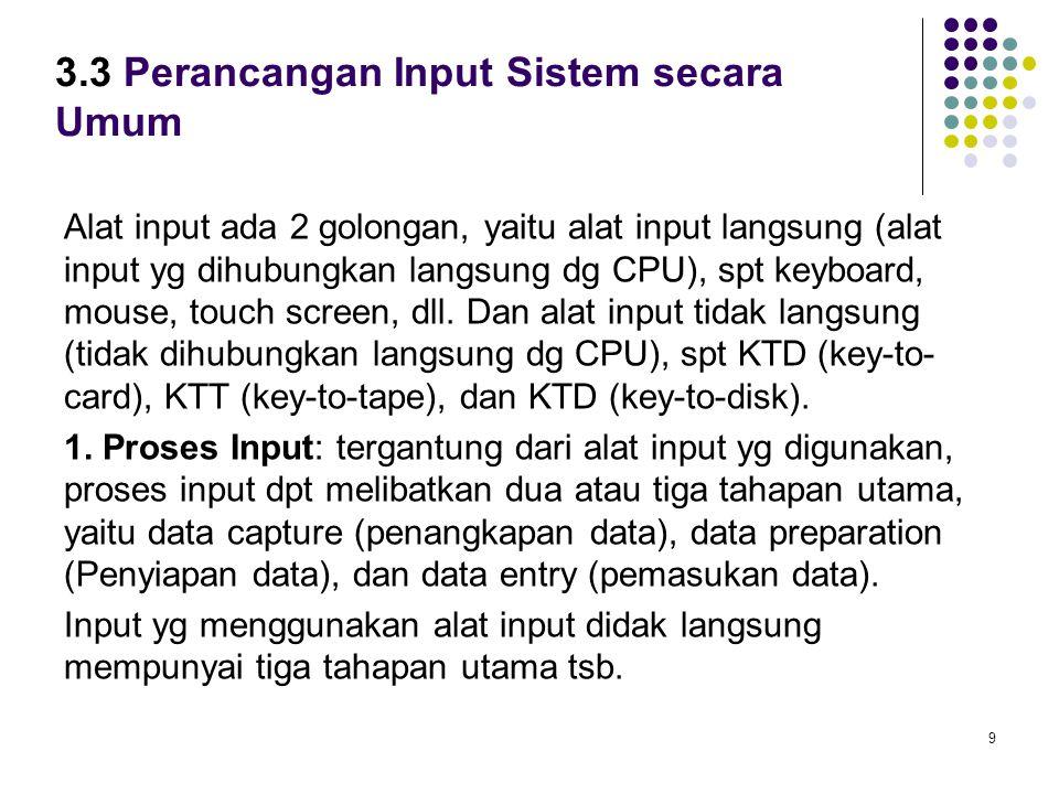 9 3.3 Perancangan Input Sistem secara Umum Alat input ada 2 golongan, yaitu alat input langsung (alat input yg dihubungkan langsung dg CPU), spt keybo
