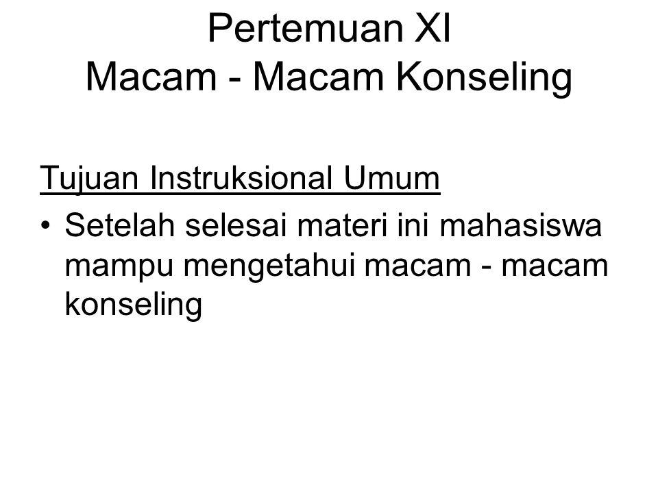 Pertemuan XI Macam - Macam Konseling Tujuan Instruksional Umum Setelah selesai materi ini mahasiswa mampu mengetahui macam - macam konseling