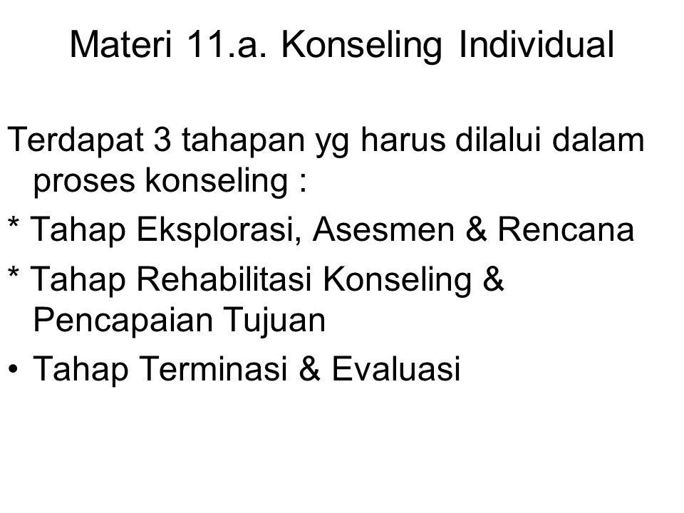 Materi 11.a. Konseling Individual Terdapat 3 tahapan yg harus dilalui dalam proses konseling : * Tahap Eksplorasi, Asesmen & Rencana * Tahap Rehabilit