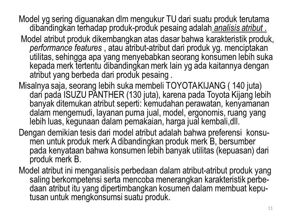 Model yg sering diguanakan dlm mengukur TU dari suatu produk terutama dibandingkan terhadap produk-produk pesaing adalah analisis atribut. Model atrib
