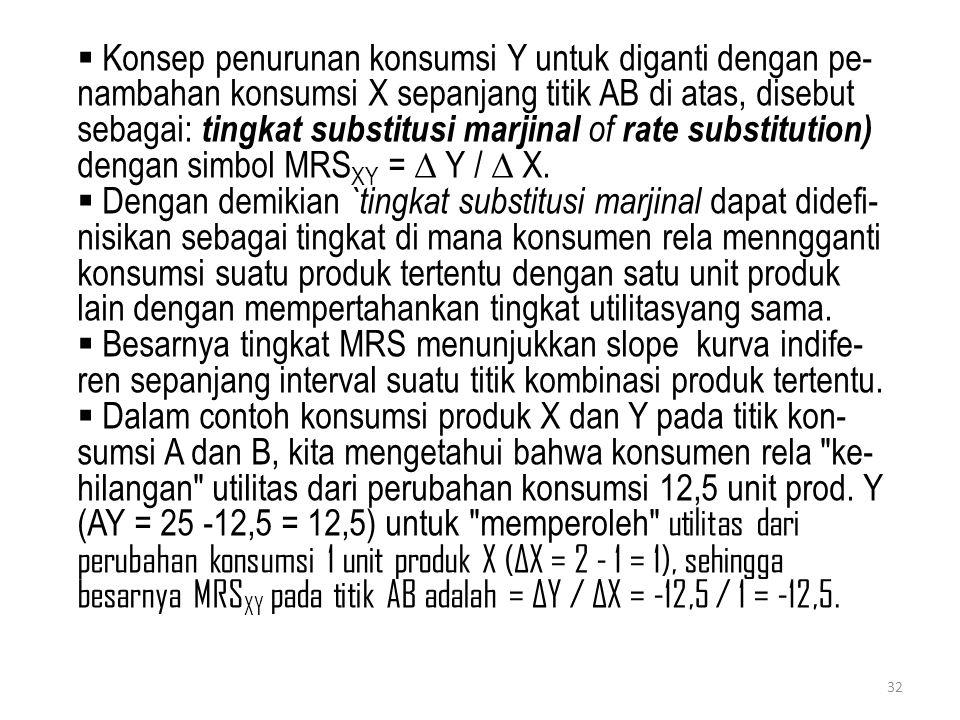  Konsep penurunan konsumsi Y untuk diganti dengan pe- nambahan konsumsi X sepanjang titik AB di atas, disebut sebagai: tingkat substitusi marjinal of