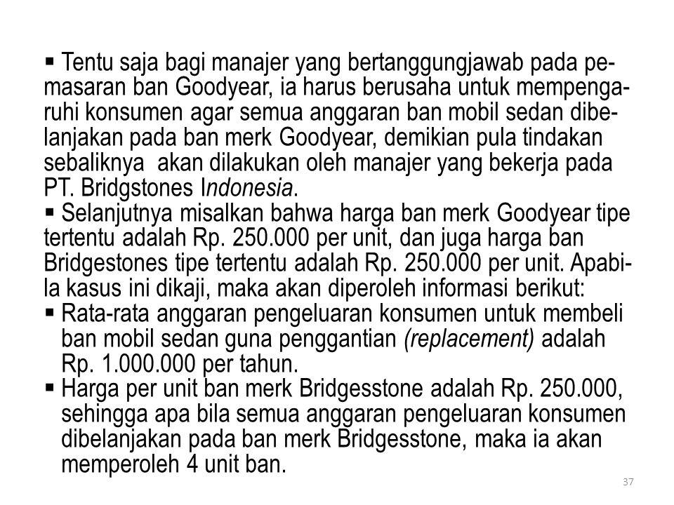  Tentu saja bagi manajer yang bertanggungjawab pada pe- masaran ban Goodyear, ia harus berusaha untuk mempenga- ruhi konsumen agar semua anggaran ban