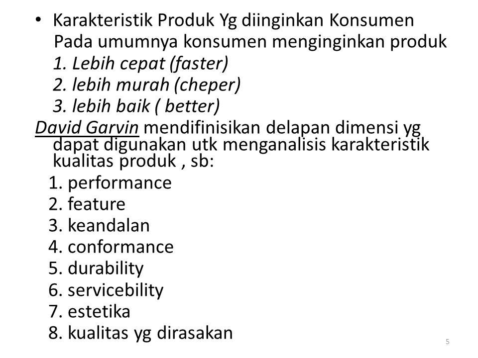 Karakteristik Produk Yg diinginkan Konsumen Pada umumnya konsumen menginginkan produk 1. Lebih cepat (faster) 2. lebih murah (cheper) 3. lebih baik (