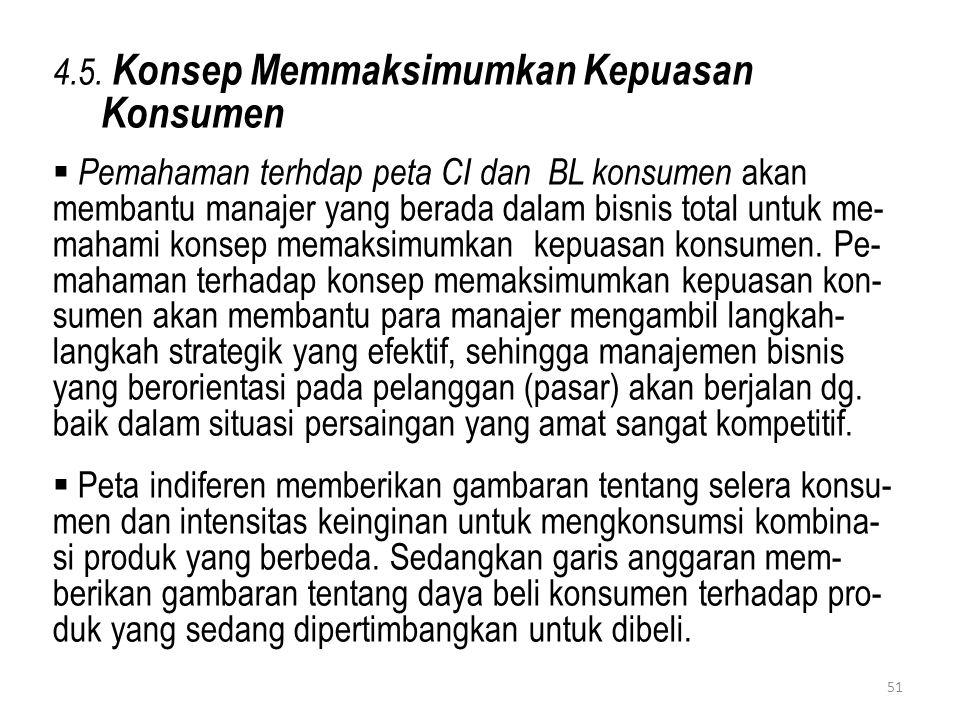 4.5. Konsep Memmaksimumkan Kepuasan Konsumen  Pemahaman terhdap peta CI dan BL konsumen akan membantu manajer yang berada dalam bisnis total untuk me