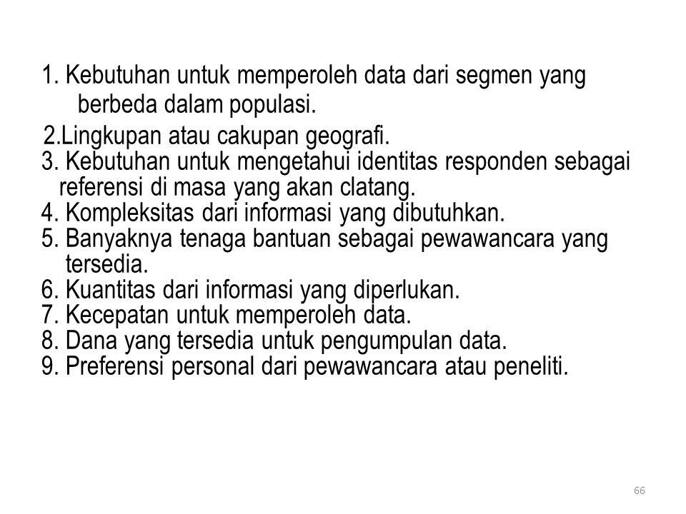 1. Kebutuhan untuk memperoleh data dari segmen yang berbeda dalam populasi. 2.Lingkupan atau cakupan geografi. 3. Kebutuhan untuk mengetahui identitas
