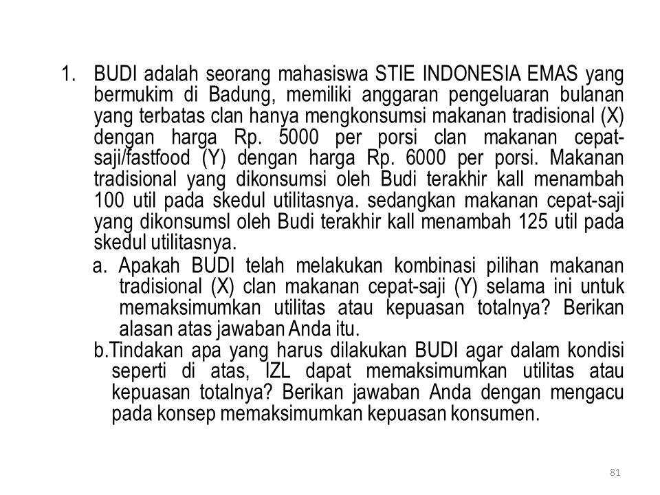 1.BUDI adalah seorang mahasiswa STIE INDONESIA EMAS yang bermukim di Badung, memiliki anggaran pengeluaran bulanan yang terbatas clan hanya mengkonsum