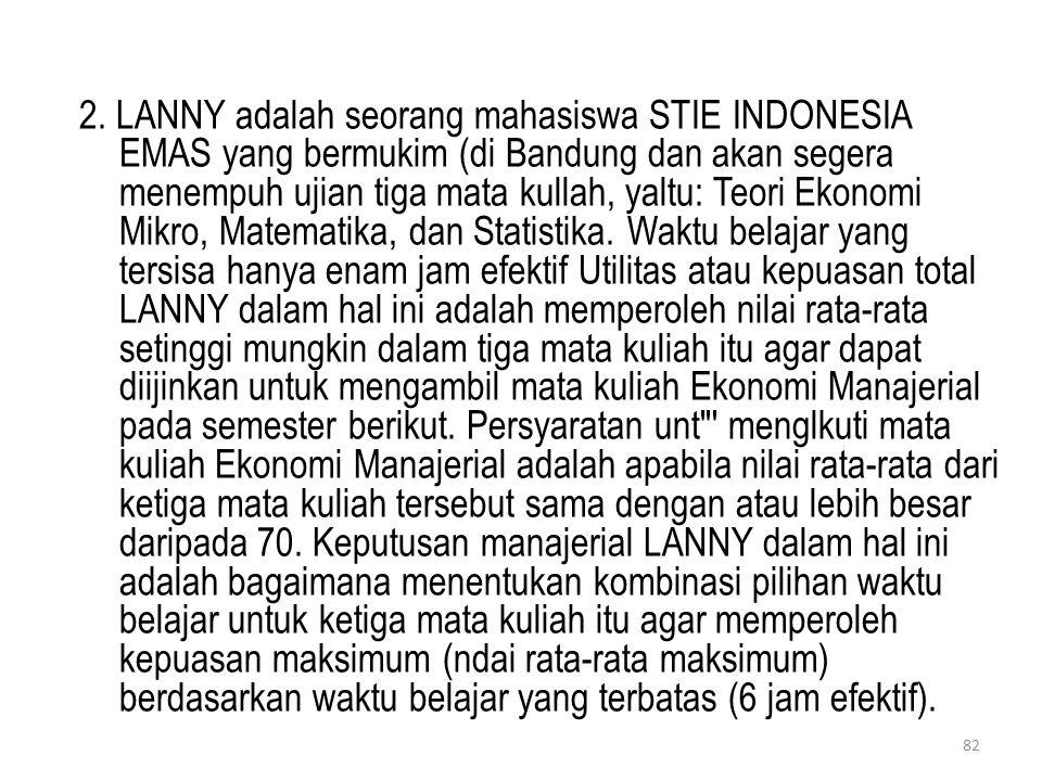 2. LANNY adalah seorang mahasiswa STIE INDONESIA EMAS yang bermukim (di Bandung dan akan segera menempuh ujian tiga mata kullah, yaltu: Teori Ekonomi