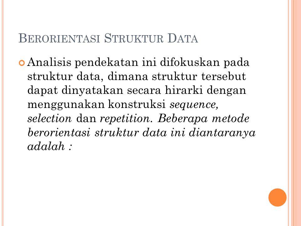 B ERORIENTASI S TRUKTUR D ATA Analisis pendekatan ini difokuskan pada struktur data, dimana struktur tersebut dapat dinyatakan secara hirarki dengan menggunakan konstruksi sequence, selection dan repetition.