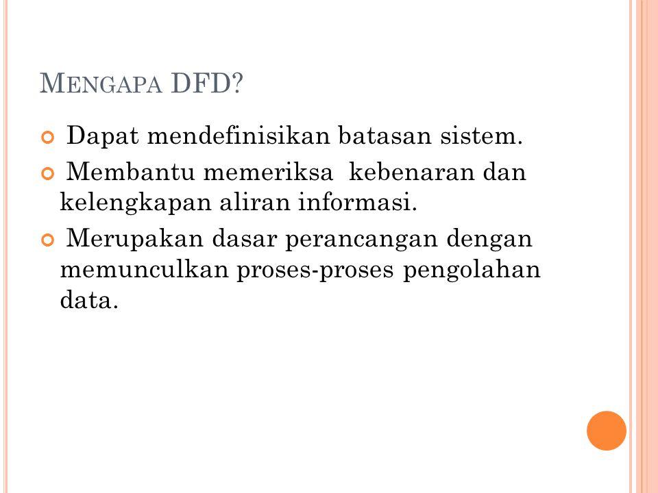 M ENGAPA DFD.Dapat mendefinisikan batasan sistem.