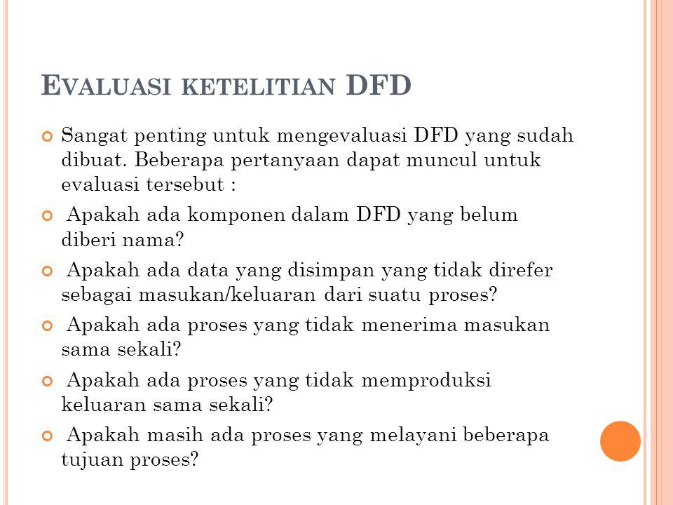 E VALUASI KETELITIAN DFD Sangat penting untuk mengevaluasi DFD yang sudah dibuat.