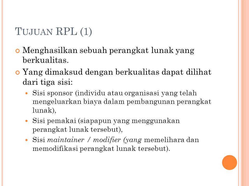 T UJUAN RPL (1) Menghasilkan sebuah perangkat lunak yang berkualitas.