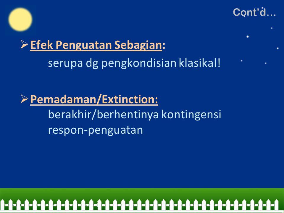  Efek Penguatan Sebagian: serupa dg pengkondisian klasikal!  Pemadaman/Extinction: berakhir/berhentinya kontingensi respon-penguatan Cont'd…