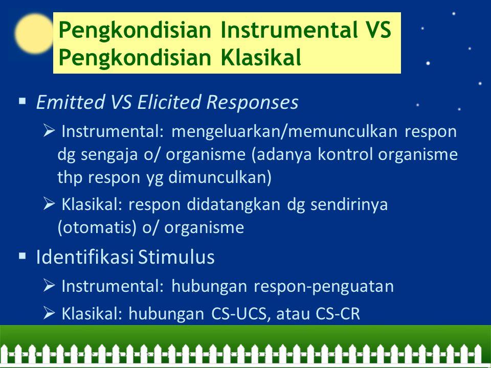 Pengkondisian Instrumental VS Pengkondisian Klasikal  Emitted VS Elicited Responses  Instrumental: mengeluarkan/memunculkan respon dg sengaja o/ org