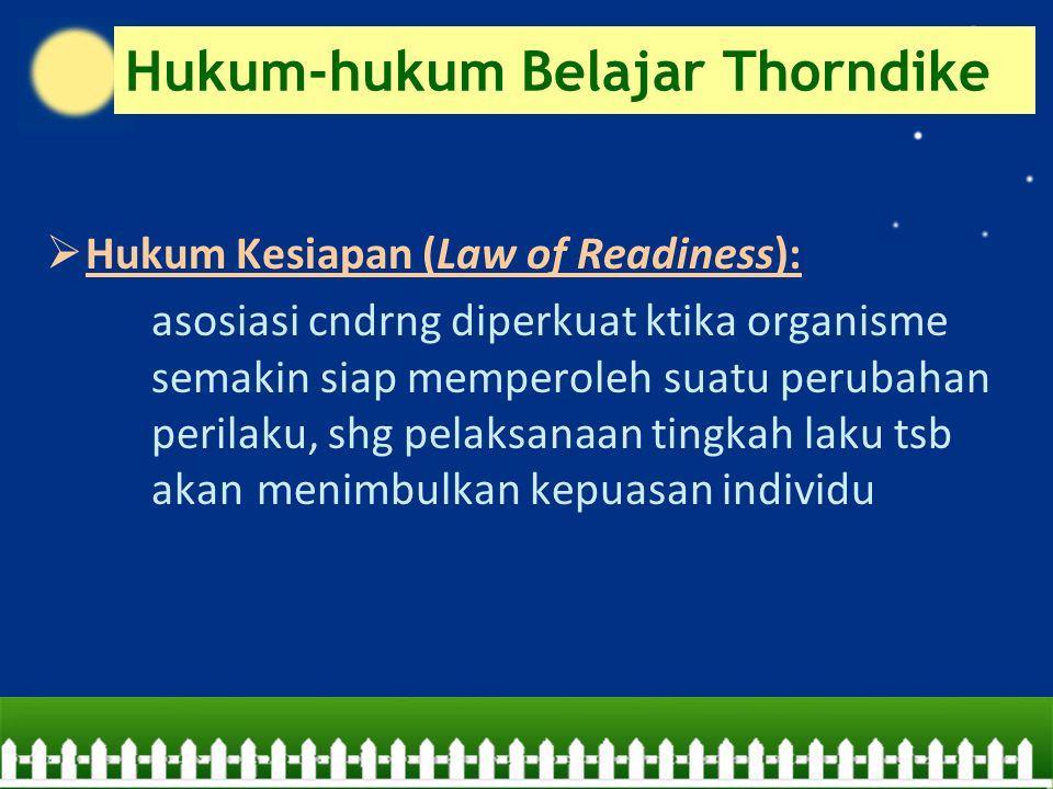 Hukum-hukum Belajar Thorndike  Hukum Kesiapan (Law of Readiness): asosiasi cndrng diperkuat ktika organisme semakin siap memperoleh suatu perubahan p