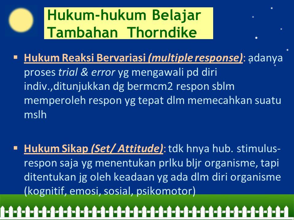 Hukum-hukum Belajar Tambahan Thorndike  Hukum Reaksi Bervariasi (multiple response): adanya proses trial & error yg mengawali pd diri indiv.,ditunjuk