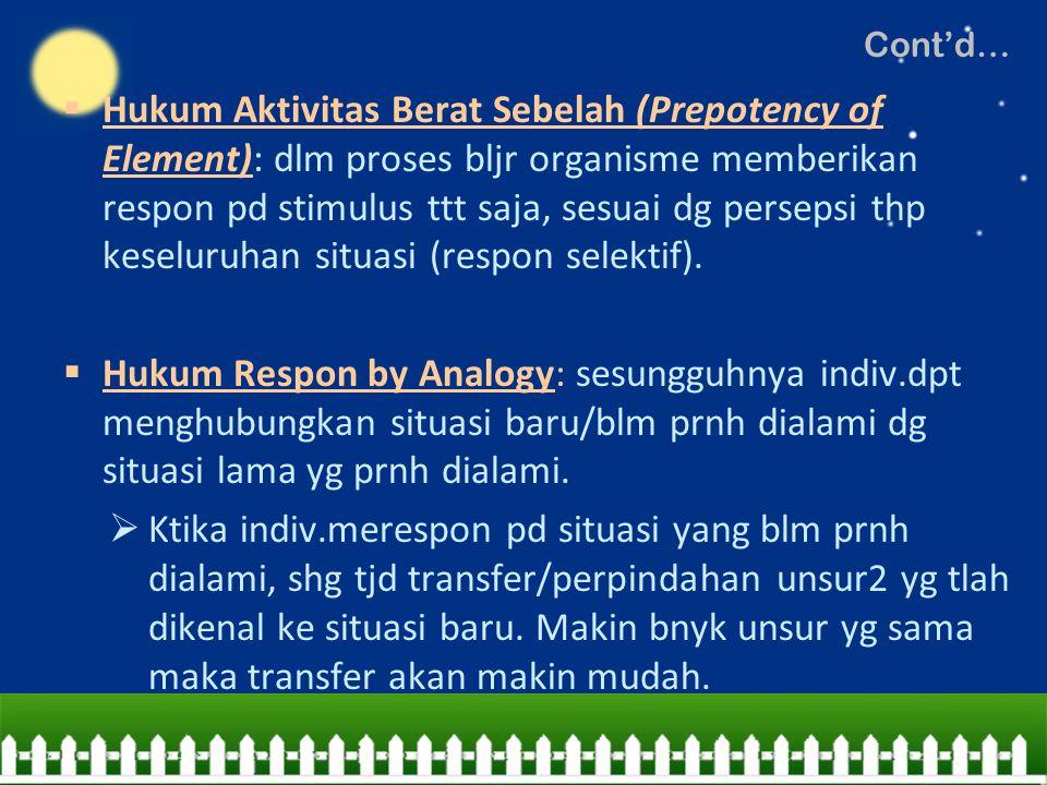  Hukum Aktivitas Berat Sebelah (Prepotency of Element): dlm proses bljr organisme memberikan respon pd stimulus ttt saja, sesuai dg persepsi thp kese