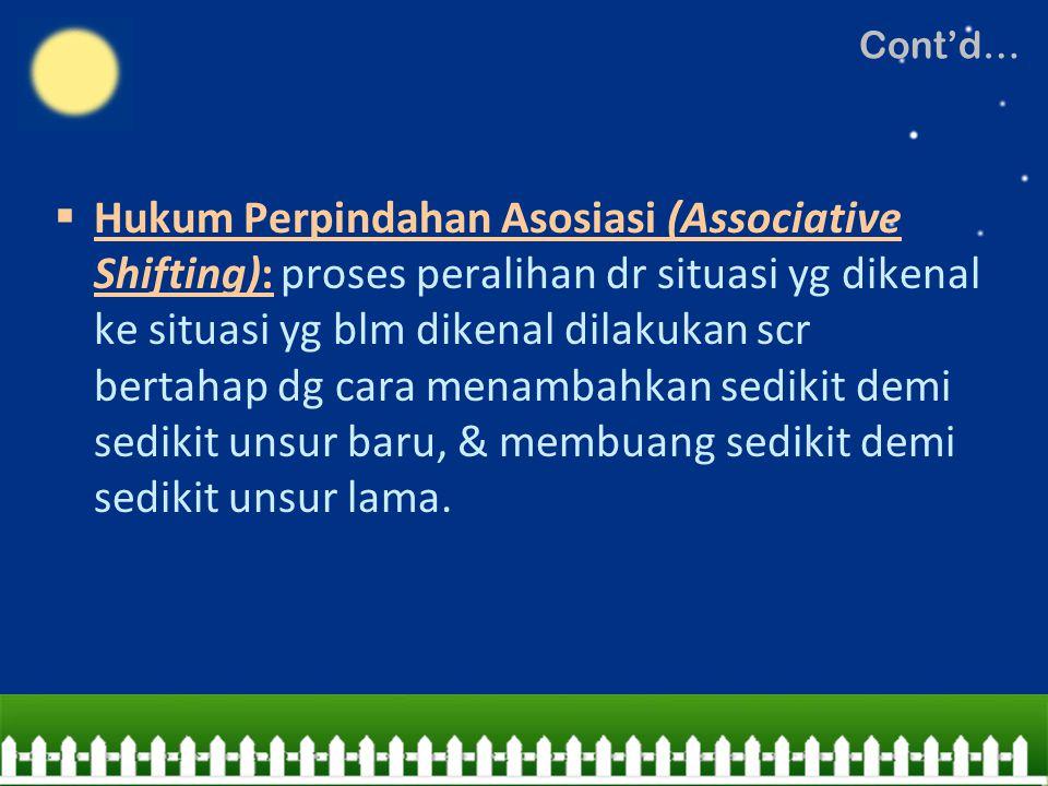  Hukum Perpindahan Asosiasi (Associative Shifting): proses peralihan dr situasi yg dikenal ke situasi yg blm dikenal dilakukan scr bertahap dg cara m