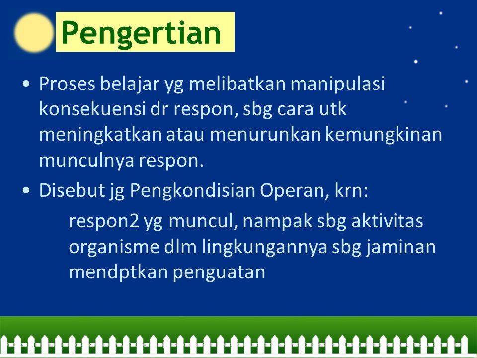 Cont'd… Reinforcer VS Reward Hal penting dlm pengkondisian operan: 1.Penguatan harus mengikuti munculnya respon 2.Penguatan harus diberikan segera setelah respon yg diinginkan muncul 3.Penguatan harus berkaitan dg munculnya respon yg diinginkan