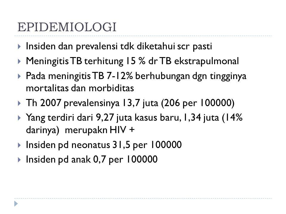  MTB: rdg selaput otak akibat komplikasi TB primer  MTB selalu tjd sekunder dgn fokus primer di luar otak  Bukan krn peradangann langsung di meningen scr hematogen  Menyebar scr perkontinuitatum dr infeksi organ lain  Std1 (awal) :apatis, iritabilitas, nyeri kepala, malaise, mual demam, anoreksia, nyeri perut  Std 2 : perub mental, tanda iritasi meningen, kelumpuhan saraf III, IV, VI  Std 3 : penkes s/d strupor, kejang, hemiparese, grkn involuter