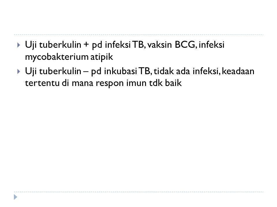  Uji tuberkulin + pd infeksi TB, vaksin BCG, infeksi mycobakterium atipik  Uji tuberkulin – pd inkubasi TB, tidak ada infeksi, keadaan tertentu di m