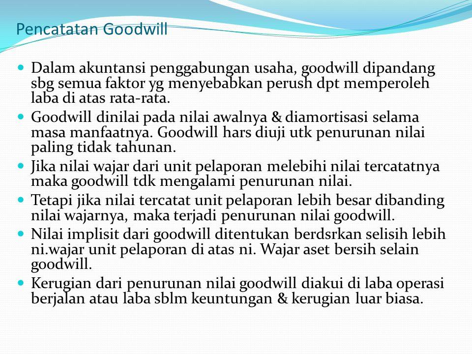 Pencatatan Goodwill Dalam akuntansi penggabungan usaha, goodwill dipandang sbg semua faktor yg menyebabkan perush dpt memperoleh laba di atas rata-rat