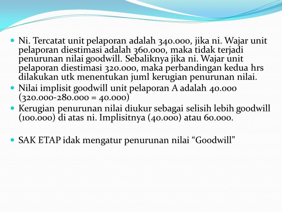 Ni. Tercatat unit pelaporan adalah 340.000, jika ni. Wajar unit pelaporan diestimasi adalah 360.000, maka tidak terjadi penurunan nilai goodwill. Seba