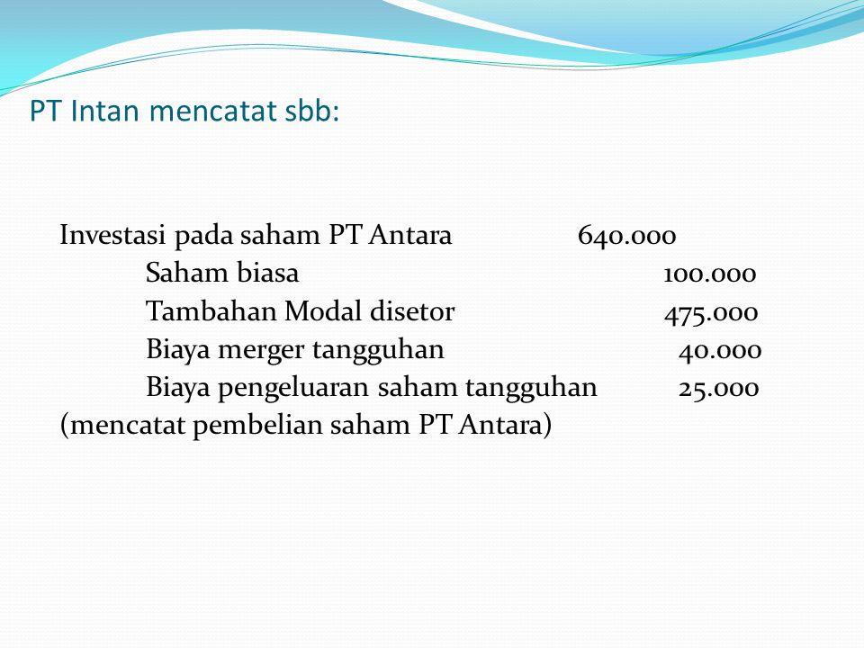 PT Intan mencatat sbb: Investasi pada saham PT Antara640.000 Saham biasa100.000 Tambahan Modal disetor475.000 Biaya merger tangguhan 40.000 Biaya peng