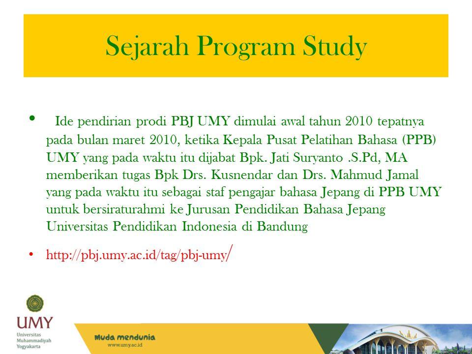 Sejarah Program Study Ide pendirian prodi PBJ UMY dimulai awal tahun 2010 tepatnya pada bulan maret 2010, ketika Kepala Pusat Pelatihan Bahasa (PPB) U