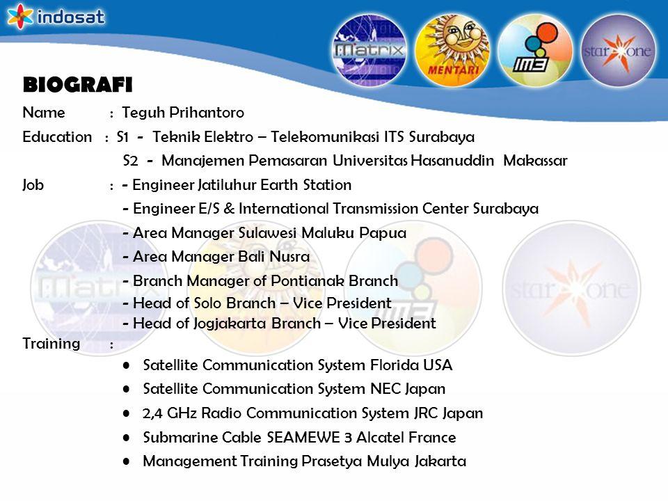 BIOGRAFI Name : Teguh Prihantoro Education : S1 - Teknik Elektro – Telekomunikasi ITS Surabaya S2 - Manajemen Pemasaran Universitas Hasanuddin Makassa