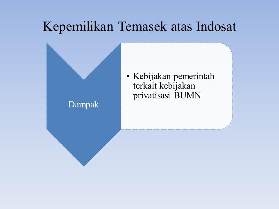 Kepemilikan Temasek atas Indosat Dampak Kebijakan pemerintah terkait kebijakan privatisasi BUMN