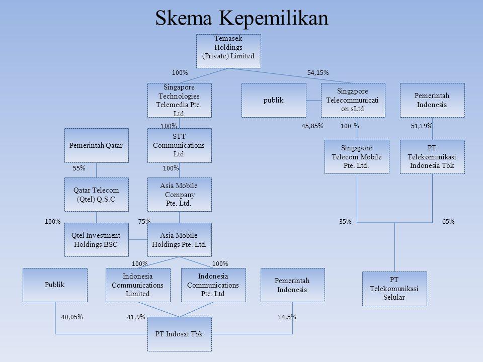 Skema Kepemilikan 100% 54,15% 100% 45,85% 100 % 51,19% 100% 55% 100% 100% 75% 35% 65% 100% 100% 40,05% 41,9% 14,5% Temasek Holdings (Private) Limited