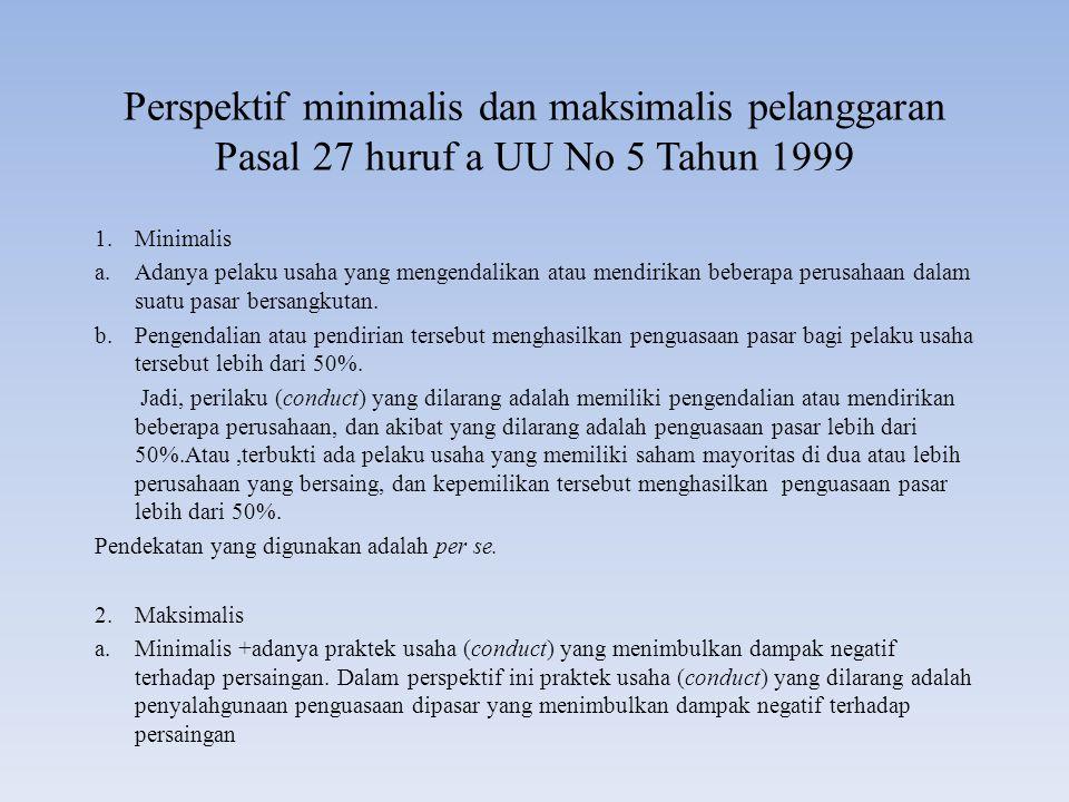 Perspektif minimalis dan maksimalis pelanggaran Pasal 27 huruf a UU No 5 Tahun 1999 1.Minimalis a.Adanya pelaku usaha yang mengendalikan atau mendirik
