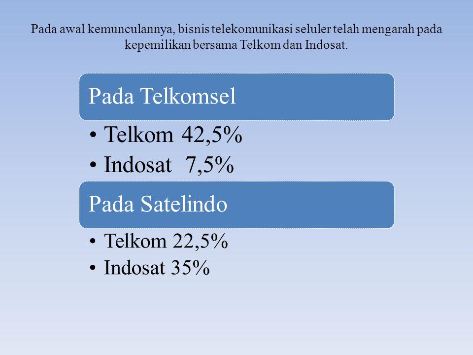 Pada awal kemunculannya, bisnis telekomunikasi seluler telah mengarah pada kepemilikan bersama Telkom dan Indosat. Pada Telkomsel Telkom 42,5% Indosat