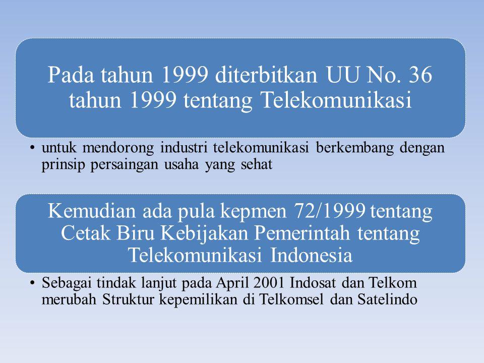 Pada tahun 1999 diterbitkan UU No. 36 tahun 1999 tentang Telekomunikasi untuk mendorong industri telekomunikasi berkembang dengan prinsip persaingan u