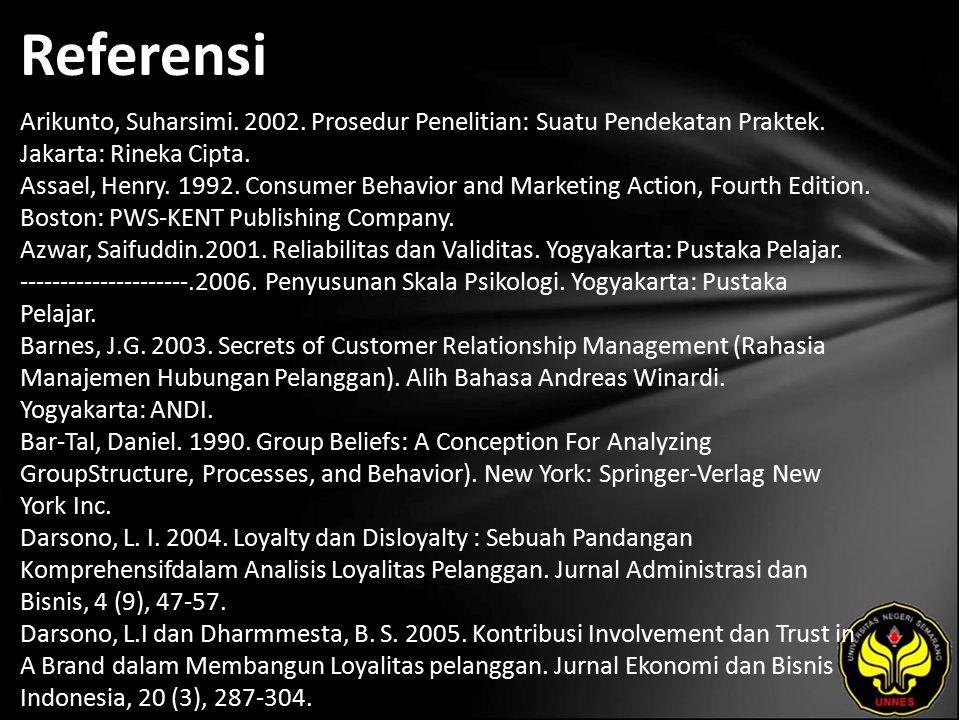 Referensi Arikunto, Suharsimi. 2002. Prosedur Penelitian: Suatu Pendekatan Praktek.