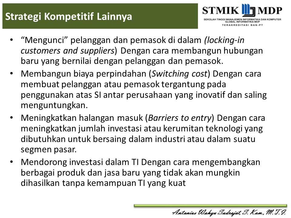 """Antonius Wahyu Sudrajat, S. Kom., M.T.I. Strategi Kompetitif Lainnya """"Mengunci"""" pelanggan dan pemasok di dalam (locking-in customers and suppliers) De"""