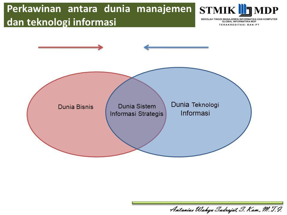 Antonius Wahyu Sudrajat, S. Kom., M.T.I. Perkawinan antara dunia manajemen dan teknologi informasi Dunia Teknologi Informasi Dunia Bisnis Dunia Sistem