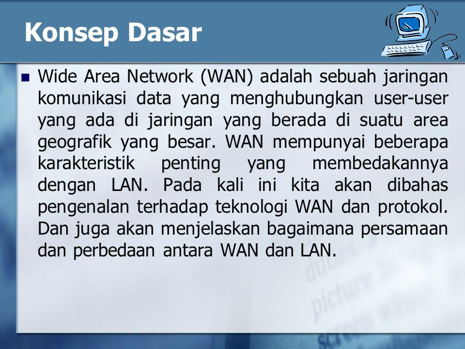 Konsep Dasar Wide Area Network (WAN) adalah sebuah jaringan komunikasi data yang menghubungkan user-user yang ada di jaringan yang berada di suatu area geografik yang besar.