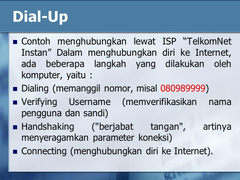 Contoh menghubungkan lewat ISP TelkomNet Instan Dalam menghubungkan diri ke Internet, ada beberapa langkah yang dilakukan oleh komputer, yaitu : Dialing (memanggil nomor, misal 080989999) Verifying Username (memverifikasikan nama pengguna dan sandi) Handshaking ( berjabat tangan , artinya menyeragamkan parameter koneksi) Connecting (menghubungkan diri ke Internet).