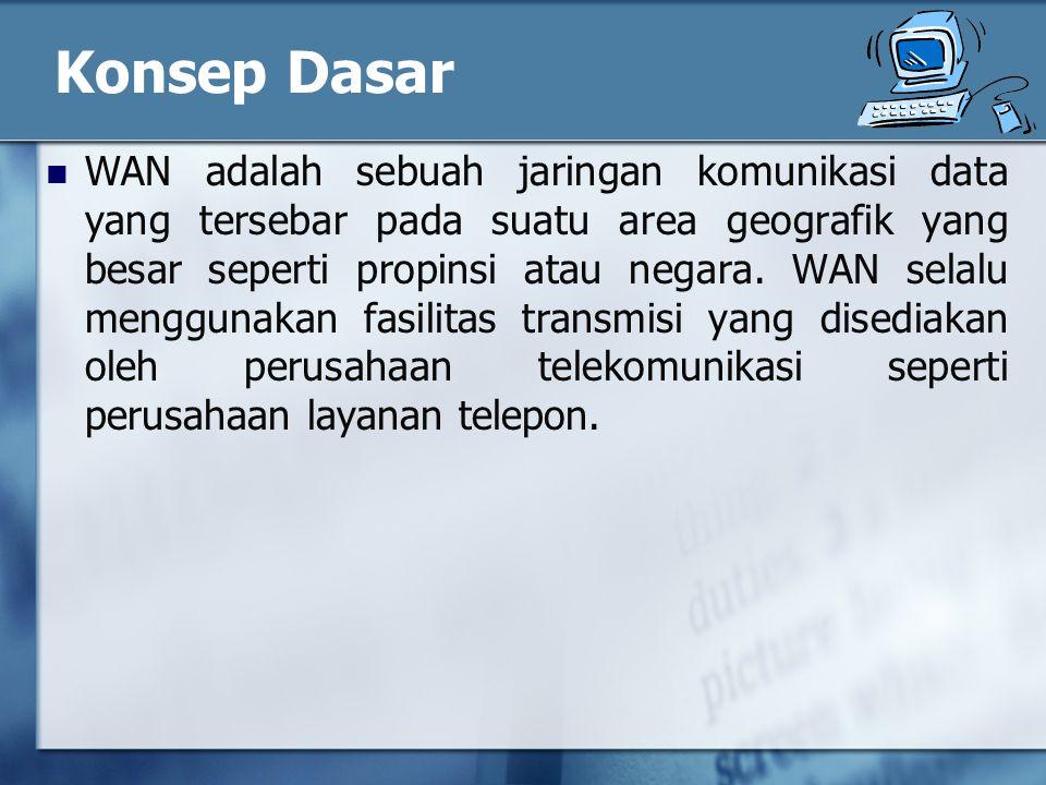 Konsep Dasar WAN adalah sebuah jaringan komunikasi data yang tersebar pada suatu area geografik yang besar seperti propinsi atau negara.