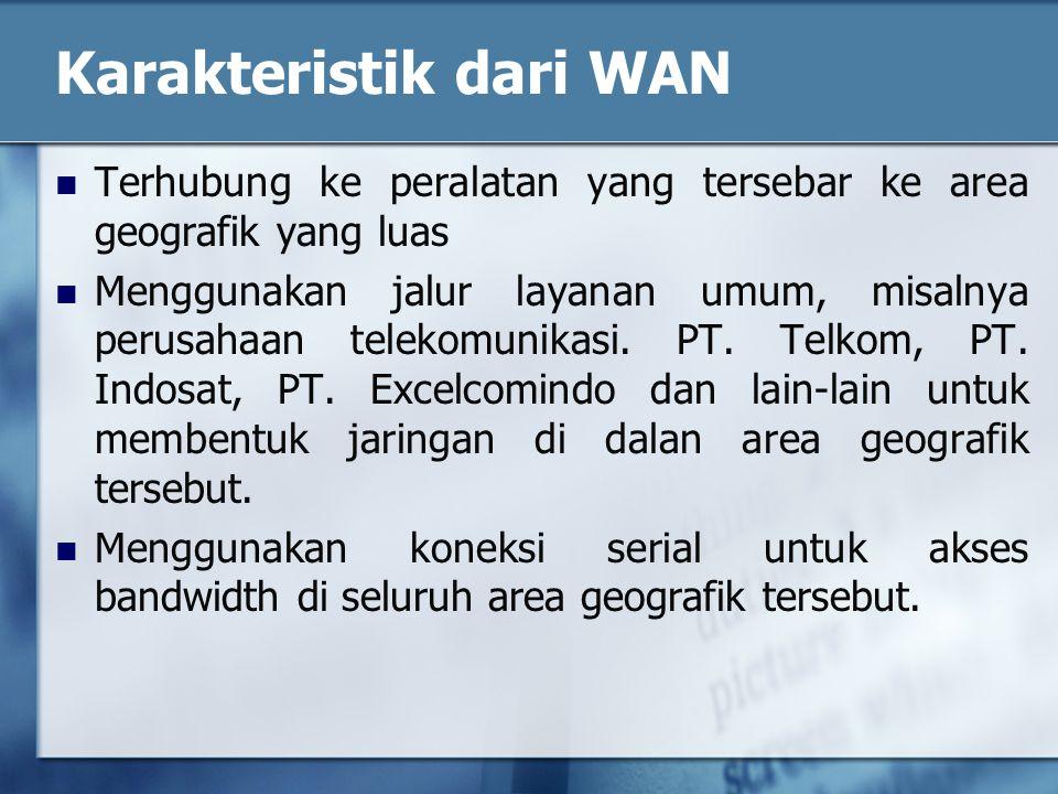 Karakteristik dari WAN Terhubung ke peralatan yang tersebar ke area geografik yang luas Menggunakan jalur layanan umum, misalnya perusahaan telekomunikasi.