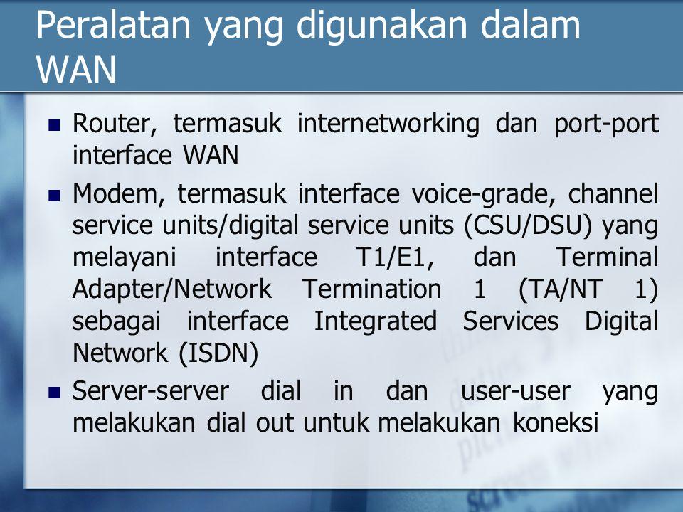Peralatan yang digunakan dalam WAN Router, termasuk internetworking dan port-port interface WAN Modem, termasuk interface voice-grade, channel service units/digital service units (CSU/DSU) yang melayani interface T1/E1, dan Terminal Adapter/Network Termination 1 (TA/NT 1) sebagai interface Integrated Services Digital Network (ISDN) Server-server dial in dan user-user yang melakukan dial out untuk melakukan koneksi
