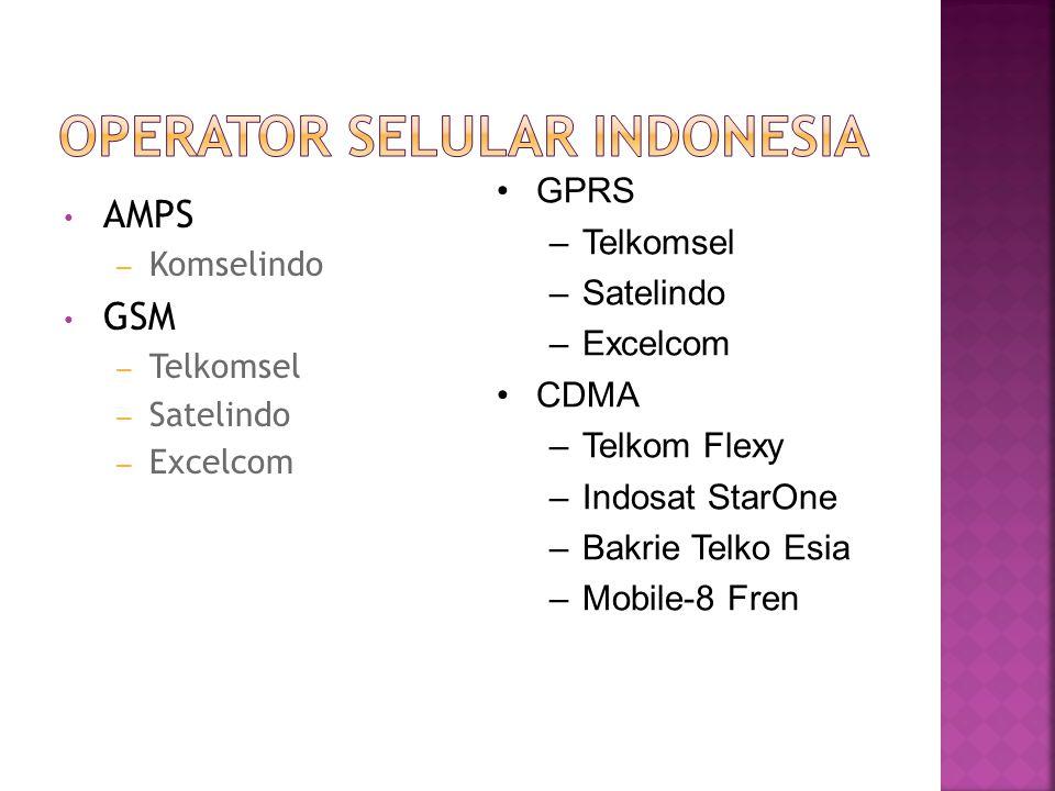 AMPS – Komselindo GSM – Telkomsel – Satelindo – Excelcom GPRS –Telkomsel –Satelindo –Excelcom CDMA –Telkom Flexy –Indosat StarOne –Bakrie Telko Esia –