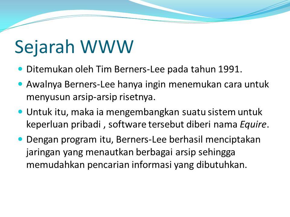 Sejarah WWW Ditemukan oleh Tim Berners-Lee pada tahun 1991. Awalnya Berners-Lee hanya ingin menemukan cara untuk menyusun arsip-arsip risetnya. Untuk